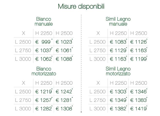 portoni per garage prezzi Ares Tricolore misure disponibili